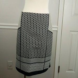 BNWT. J.crew black & tan print pencil skirt sz 4